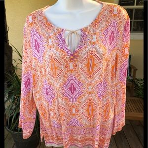 Ruby Rd. Pink/orange top size PXL